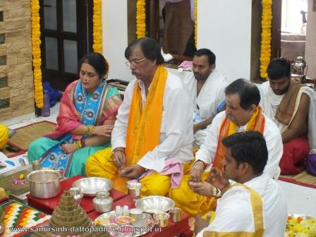 SHREE PAR-AMBAA Poojan being done at the residence of Bapu